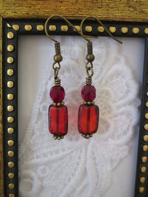 Handmade Ruby Red Czech Rectangle Glass Earrings, Free Shipping!