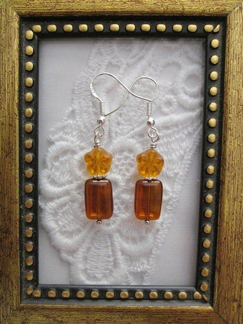 Amber Orange Czech Flower & Rectangle Sterling Earrings, Free Shipping!