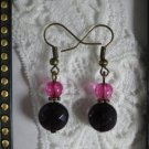 Dark Purple & Pink Glass Bronze Tone Earrings