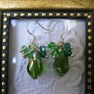 Green Drop Confetti Earrings, Free Ship!