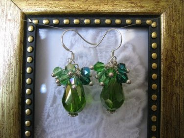 Green Drop Confetti Earrings, Free Ship!