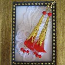 Gold Stemmed Opaque Red Lily Earrings, Free Ship!