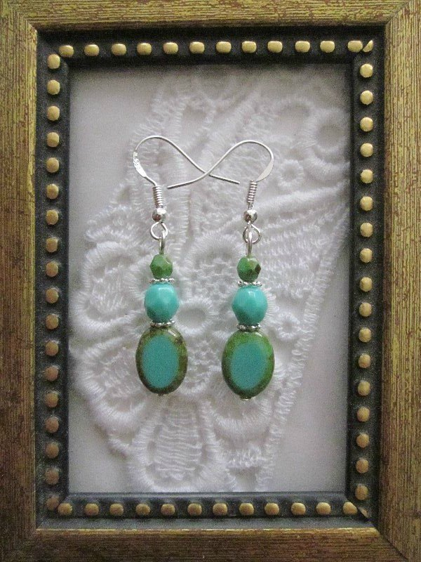 Turquoise Oval Czech Silver Tone Earrings, Free Ship!