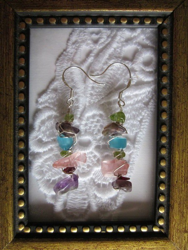 Handmade Natural Gem Chip Earrings, Free Shipping