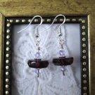 Handmade Amethyst Purple Glass Disc & Crystal Sterling Silver Earrings
