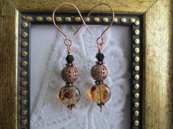 Handmade Picasso Brown Copper Earrings, Free U.S. Ship