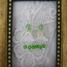 White Flower & Green Crystal Earrings, Free Shipping!