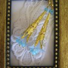 Powder Blue Lily and Filigree Gold Stem Earrings, Free U.S. Shipping!