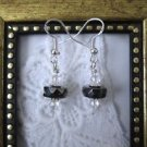 Handmade Silverly Black Czech Glass Disc & Crystal Sterling Silver Earrings