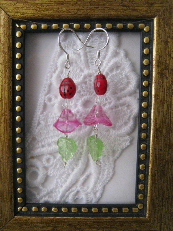 Light Fuschia Pink Flower & Lady Bug Earrings, Free Shipping!