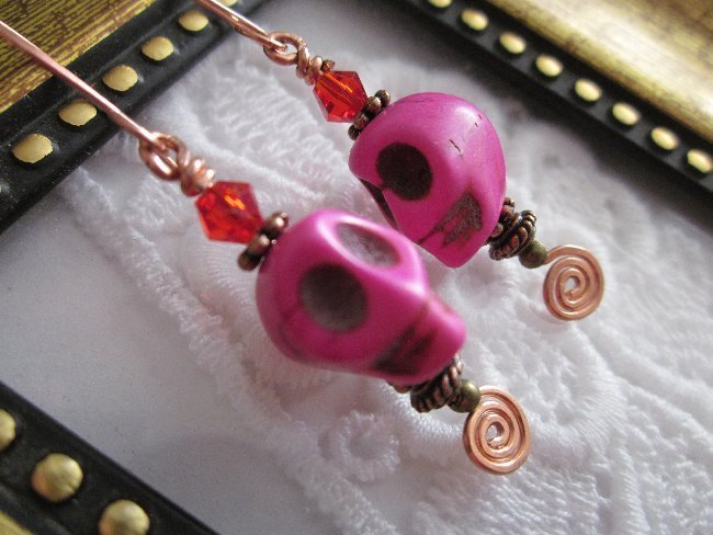 Pink Halloween Day of the Dead Sugar Skull & Red Crystal Copper Wire Earrings
