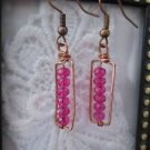 Fucsia Pink Faceted Crystal Copper Wire Rectangle Earrings, Free U.S. Shipping!