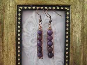 Handmade Faceted Amethyst Bead Copper Wire Rectangle Earrings, Free U.S. Ship!