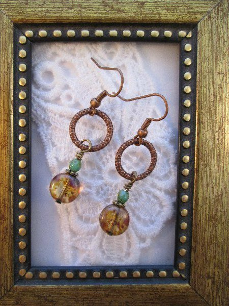 Picasso Amber Glass on Copper Ring Earrings, Free Shipping!