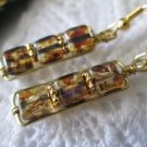 Handmade Rustic Brown Glass Bead Gold Tone Earrings, Free U.S. Shipping!