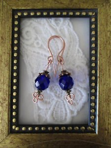 Deep Cobalt Blue Fire Polish & Crystal Copper Earrings, Handmade Wires Free Ship