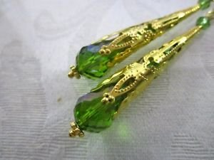 Handmade Light Green Faceted Drop Glass Long Filigree Gold Tone Cone Earrings