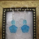 Blue & White Glass Flower & Czech Fire Polish Silver Tone Earrings, Free Ship!