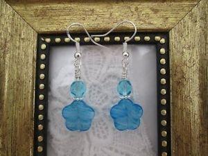 Blue & White Glass Flower & Czech Fire Polish Silver Tone Earrings, Free Ship!