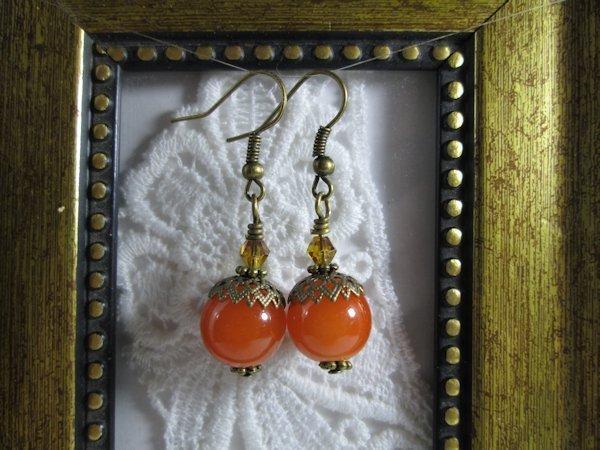 Handmade Nostalgic Opaque Orange Glass Bronze Tone Earrings