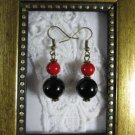 Black Agate & Red Coral Stack Bronze Tone Earrings
