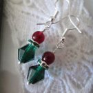 Red & Green Czech Glass SilverTone Small Christmas Earrings, Free U.S. Shipping!