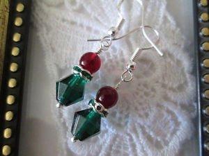 Red & Green Czech Glass SilverTone Small Christmas Earrings, Free U.S. Shipping!