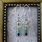 Green Gradation Czech Glass Beads Silver Tone Earrings, Free U.S. Shipping!