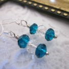 Handmade Peacock Blue & Clear Crystal Earrings, Free U.S. Shipping!