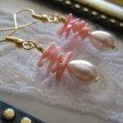 Silvery Glass Drop & Filigree Gold Tone Earrings, Free Ship!