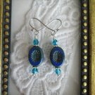 Dark Blue Oval Burst Czech Bead Earrings, Free U.S. Ship