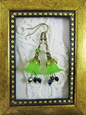 Handmade Green Lily Flower &  Peridot Czech Glass Antique Bronze Tone Earrings