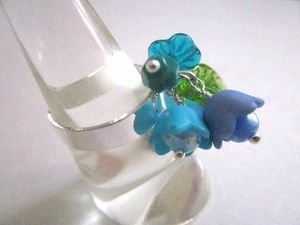 Handmade Blue Flower Bouquet Silver Tone Ring, One Size