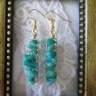 Handmade Blue Amazonite Gemstone Chip Gold Tone Earrings, Free U.S. Shipping!