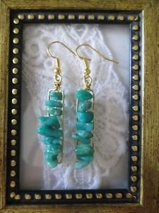 Handmade Blue Amazonite Gemstone Chip Gold Tone Earrings, Free U.S. Shipping!