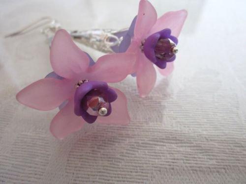 Handmade Pop Acrylic Flower and Crystal Silver Tone Earrings, Free U.S. Shipping
