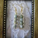 Luster Grey Green Czech Faceted Glass Gold Tone Earrings, Free U.S. Shipping!