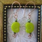 Bright Green Snail / Ammonite Shell Glass Copper Wire Earrings Free Shipping!