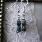 Handmade Dark Green Czech Glass Beads Silver Tone Earrings, Free U.S. Shipping!