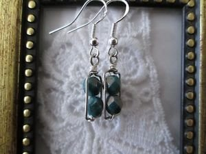 Handmade Dark Green Czech Glass Beads Silver Tone Earrings, Free U.S. Shipping!
