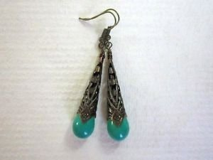 Handmade Light Blue Drop Stone Long Antique Copper Filigree Cone Earrings