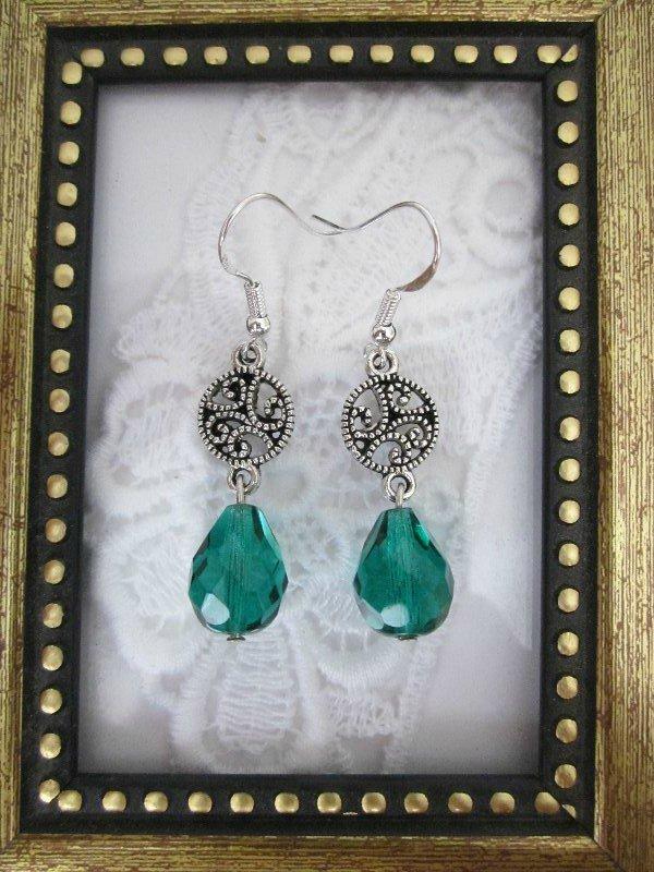 Handmade Green Czech Glass Drop Silver Tone Earrings, Free Ship!