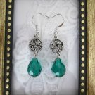 Handmade Green Czech Glass Drop Silver Tone Earrings, Free Ship!