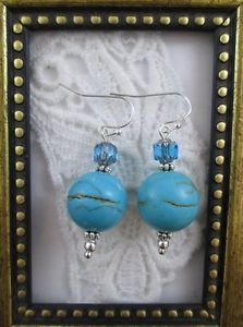 Handmade Turquoise and Cathedral Bead  Earrings, Free U.S. Ship!