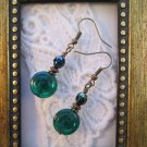 Emerald Green / Silver Swirly Czech Glass Bronze Tone Earrings, FREE SHIP!