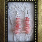 Handmade Pink Coral Chip Stack Silver Tone Dangle  Earrings, Free Shipping!