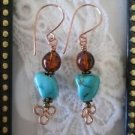 Blue Howlite Turquoise and Amber Glass Copper Wire Earrings, Free U.S. Shipping!