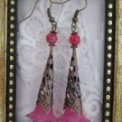 Handmade Long Filigree Stem Fuchsia Pink Flower Copper Tone Earrings, Free Ship!