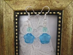 Handmade Marbled Blue Glass Flower Sterling Silver Tone Earrings, Free Ship!