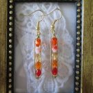 Orange Cream Gradation Czech Glass Gold Tone Earrings, Free U.S. Shipping